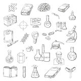 Scientist with laboratory research sketch icons Royalty Free Stock Photos