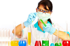 Scientist in laboratory with test tubes Stock Photo