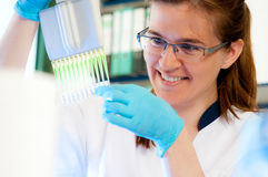 Scientist loads samples for DNA analysis royalty free stock photo