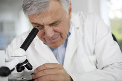 Scientist looking through microscope Royalty Free Stock Photo