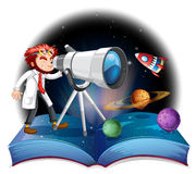 Scientist looking at the telescope Royalty Free Stock Photography
