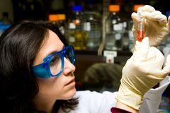 Scientist looking at test tube. Scientist is checking the color change of a reaction in a test tube stock photo