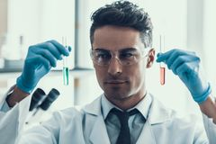 Scientist looks at Liquid Samples in Flasks in Lab. Young Researcher wearing White Coat Gloves and Protective Glasses examining Chemical Liquid Samples in Stock Image
