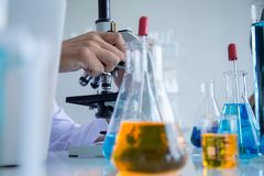 Scientist scientist looks through microscope , in laboratory room royalty free stock images