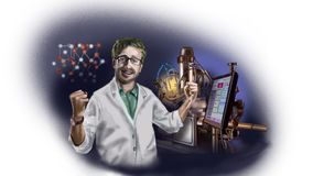 The scientist made a discovery, rejoicing, joy and hope in his eyes. royalty free illustration