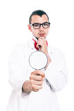 Scientist with magnifying glass Royalty Free Stock Photo