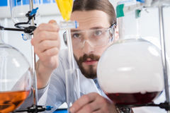 Scientist making experiment. Young male scientist in protective glasses making experiment in laboratory Stock Photography