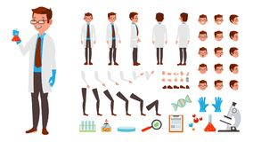 Scientist Man Vector. Animated Character Creation Set. Full Length, Front, Side, Back View, Accessories, Poses, Face. Emotions Hairstyle Gestures Isolated vector illustration