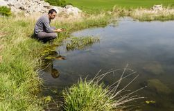 Scientist measuring environmental water quality in a wetland. Using a multi-parameter probe stock photos