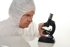 Scientist and Microscope Royalty Free Stock Photo