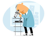 Scientist with microscope royalty free illustration
