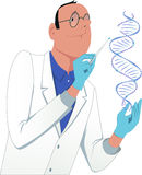 Scientist modifying a DNA molecule Royalty Free Stock Photos
