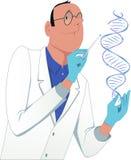 Scientist modifying a DNA molecule royalty free illustration