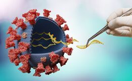 Scientist is modifying genes in RNA of virus in laboratory. Biology and viral genetics concept.