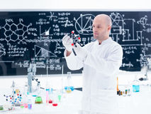 Scientist molecular analysis. Side-view of a scientist analyzing a citric acid molecular model in a chemistry lab around a lab table with colorful liquids and Royalty Free Stock Photo