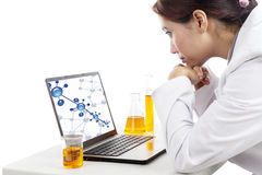 Scientist with molecule reaction Stock Images