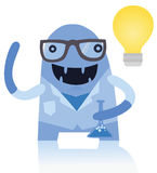 Scientist Monster Making Discovery. Funny Blue Scientist Monster Making Discovery Royalty Free Stock Images