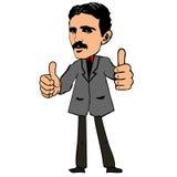 Scientist Nikola Tesla. Vector illustration. Tesla shows thumbs up Stock Images