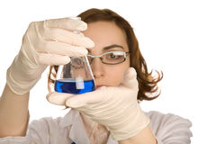Scientist with one  flask Stock Images