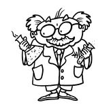 Scientist outline cartoon. Scientist outline illustration; Scientist with test tubes Royalty Free Stock Photography