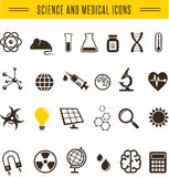 Scientist pack - Research, Bio and chemistry icons Royalty Free Stock Photos