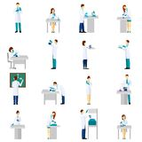 Scientist Person Flat Set Stock Photography