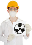 Scientist with poster radiation Royalty Free Stock Photography