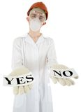Scientist with posters yes and no Royalty Free Stock Image