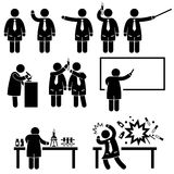 Scientist Professor Science Lab Pictograms. A set of pictograms representing a scientist and professor teaching in a class and experimenting in a lab Stock Photography
