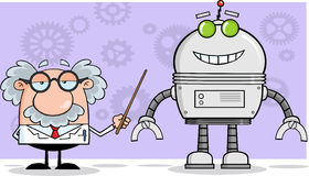Scientist Or Professor Shows His Pointer A Big Robot Royalty Free Stock Photography