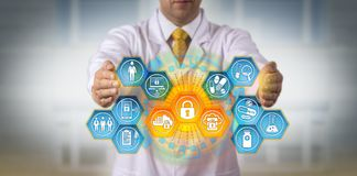 Scientist Protecting Data Via Encryption App royalty free stock photography