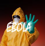 Scientist with protective suit, ebola concept. Royalty Free Stock Photos