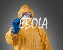 Scientist with protective suit, ebola concept. Stock Images