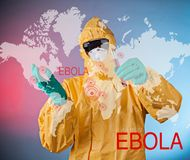 Scientist with protective suit, ebola concept. Royalty Free Stock Image