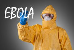 Scientist with protective suit, ebola concept. Stock Photography