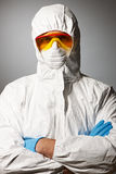 Scientist in protective wear Royalty Free Stock Images