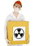 Scientist with a radioactive box Stock Image