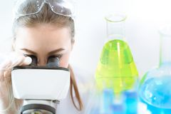 Scientist research chemical lab with microscope and medical equipment stock photo