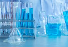 Scientist research chemistry at science lab. Test tubes closeup, science laboratory research and development concept Royalty Free Stock Photo