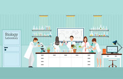 Scientist research and experiments at Biology Science lab interi. Or or laboratory room, biology education concept, vector illustration Stock Photo