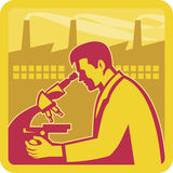 Scientist Researcher Factory Building Retro. Illustration of a scientist worker chemist researcher with factory building in background set inside square done in Royalty Free Stock Image