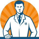 Scientist Researcher Lab Technician Tie. Illustration of a scientist researcher lab technician wearing white coat with hand on counter facing front done in retro Royalty Free Stock Photography