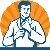 Scientist Researcher Lab Technician Tie. Illustration of a scientist researcher lab technician wearing white coat straightening tie done in retro style Stock Image