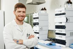 Scientist researcher man in laboratory Stock Photos
