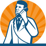 Scientist Researcher Technician Telephone. Illustration of a scientist researcher lab technician wearing white coat talking on telephone done in retro style Stock Photo