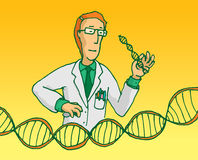 Scientist researching genes or dna sequence. Cartoon illustration of scientist researching genes or manipulating dna sequence Royalty Free Stock Photography
