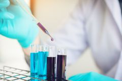 Scientist researching working with chemical fluid in the laboratory. Scientist researching working with chemical fluid in the laboratory royalty free stock photo