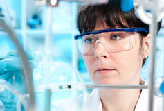 Young scientist works in the lab. Scientist in safety glasses works in laboratory Stock Images