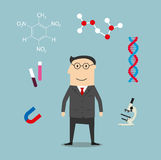Scientist and science elements icons Royalty Free Stock Photography
