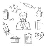 Scientist and science research sketch icons Stock Photo